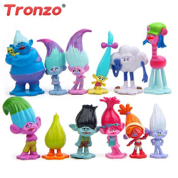 Modelo Tronzo 12pcs / set Trolls Movie Dreamworks Pvc Figura de acción Muñecas de colección Poppy Branch Doll Toy para niños Dropship