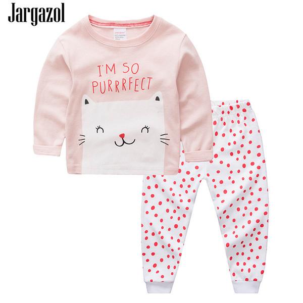 Abbigliamento Jargazol Pigiama per bambini per le ragazze Infantil di stampa del fumetto delle parti superiori + Dots pantaloni 2pcs / set Vetement Enfant Fille cotone autunno