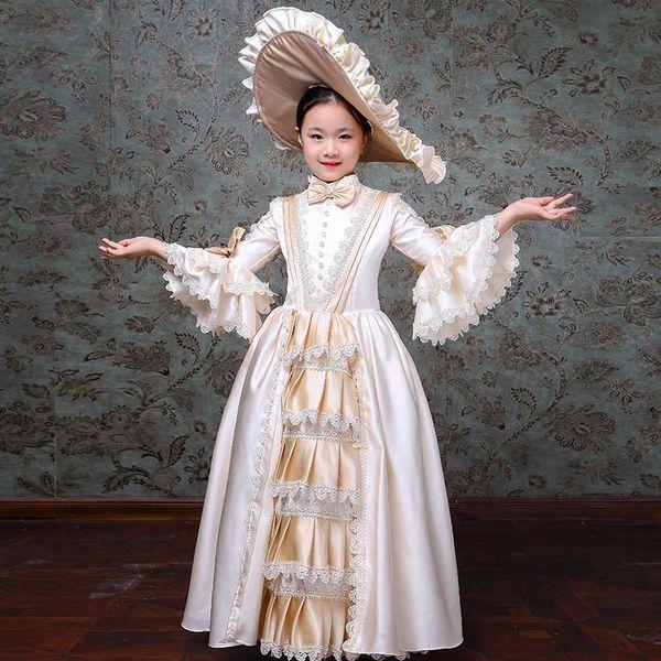 Custom 18th Century Beige Flare Sleeve Birthday Party Dress Children Wedding Performance Marie Antoinette Gowns Costumes