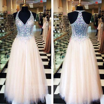 2019 Fashion Champagne A-line Formal Prom Dresses Long V-neck Halter Top Beaded Crystal Sequins Draped Dresses Evening Wear Party Dress Gown