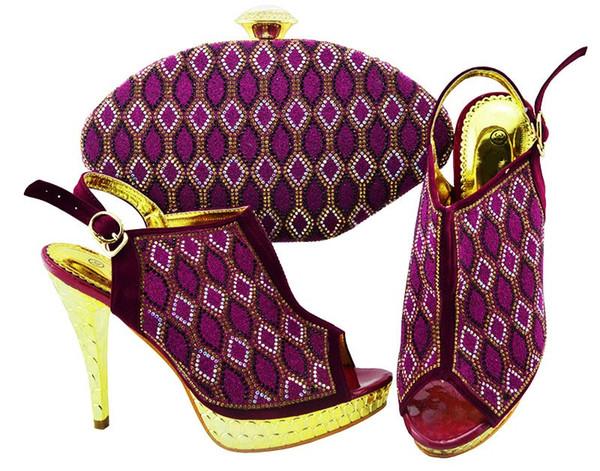 hot sale purple women pumps with rhinestone lattice style african shoes match handbag set for dress JZC003,heel 12CM