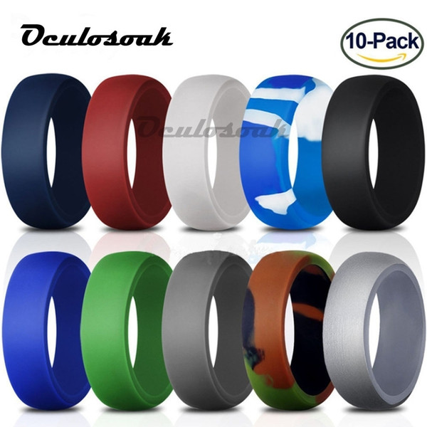 2019 7-14 Size Food Grade Fda Silicone Ring 8.7mm Hypoallergenic Crossfit Flexible Sports Silicone Finger Rings For Men 10pcs/set