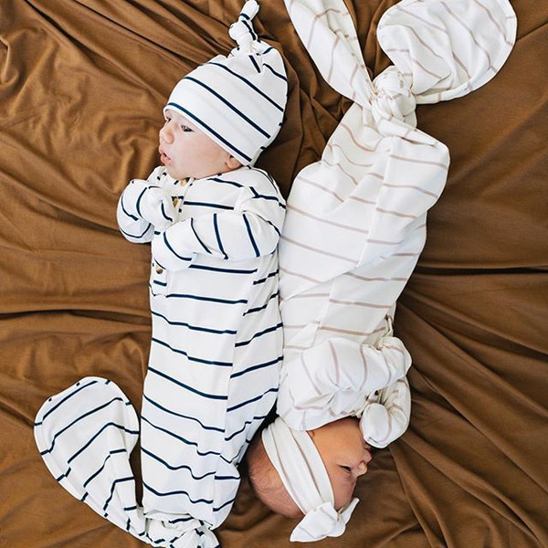 New jumpsuit sleeping bag baby striped long-sleeved cotton mermaid tail sleeping bag + hair band 2 sets 0-6 months