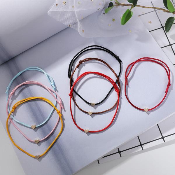 Nouveau bracelet de mode simple coeur petit bracelet d'amour rouge version han petite dame fraîche main ornements souhaitent vente chaude