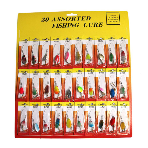 30pcs 4cm Fishing Lures Metal Sequins Baits Mix Color Ultra-light Design Crankbaits Fishing Tackle Gear Enhancing Treble Hooks