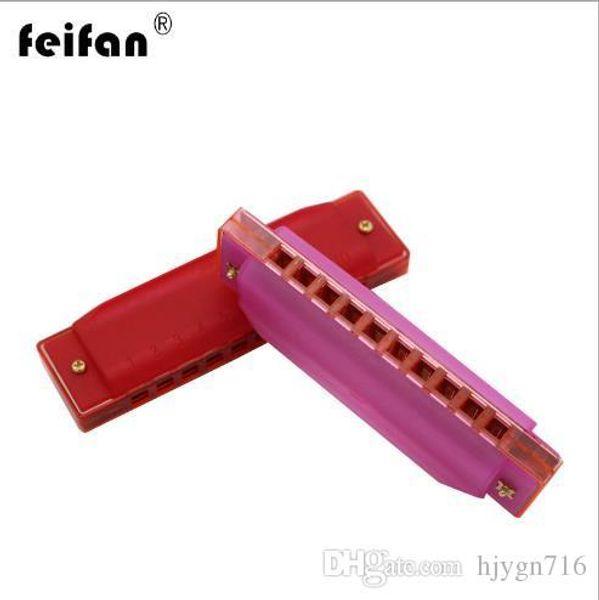 Auténtica armónica de plástico Feifan armónica de 10 agujeros para niños instrumentos de instrumentos de juguete