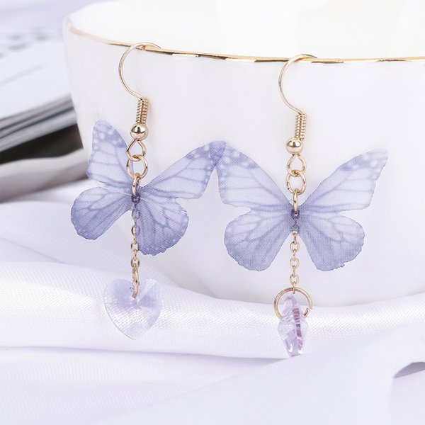 Fashion Women 1 pair Small and pure and Fresh Style Ethereal Butterfly Wings Accessories Fantasy Yarns Butterfly Earrings