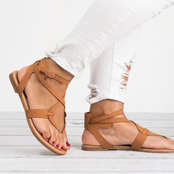 Women Cross-tied Ankle Strap Sandals Hot Sale Fashion Buckle Strap Casual Sandals Gladiator Shoes Summer Flat Sandals for Girls Plus Size
