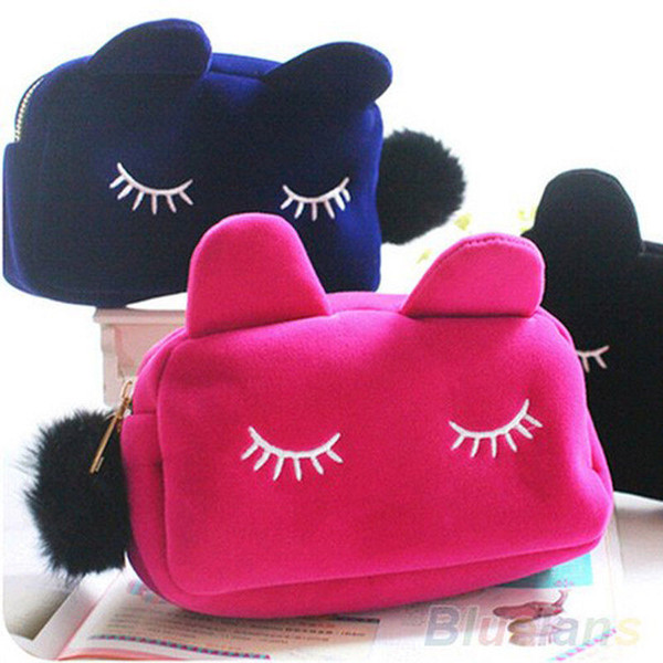 fashion travel make up bag cartoon cat makeup bags case box with zipper cosmetic school stationery velour pouch purse