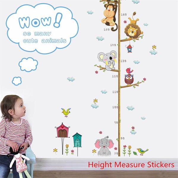 Selva animal mono búho gráfico de crecimiento Stadiometer pegatinas altura medida calcomanía para niños habitación Nuresery pared puerta decoración arte Mural