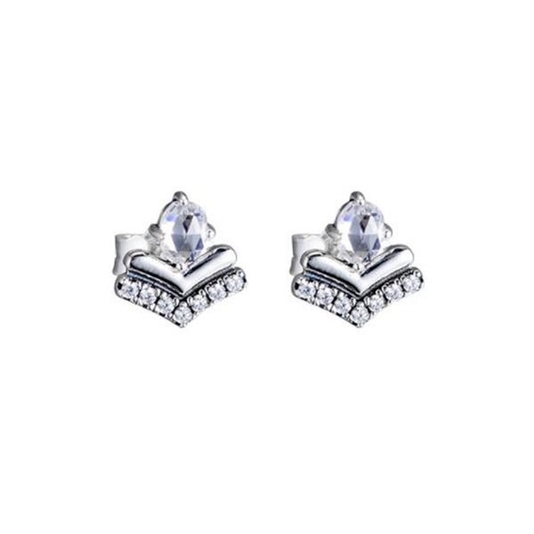 Original 100% 925 Sterling Silver Stud Earring With CZ Fashion Classic Wishes Earring For Women Anniverary Jewelry