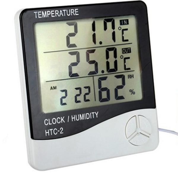 Digital LCD Termómetro Higrómetro Temperatura Electrónica Medidor de Humedad Estación Meteorológica Interior Probador de Alarma Al Aire Libre LX5872