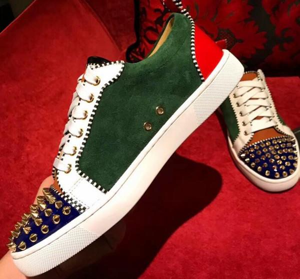 Chegada verde camurça Low Top Red Sneaker Homem Sapato Casual Lace Up Sapatos de Festa Ao Ar Livre Lace Up Patchwork Plana 6ddy