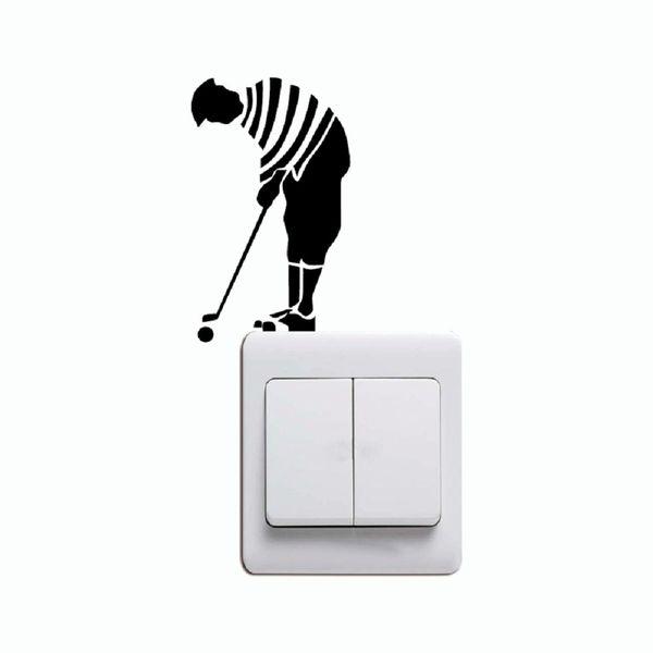 KG-240 Men Playing Golf Light Switch Sticker Cartoon Golfer Vinyl Wall Sticker