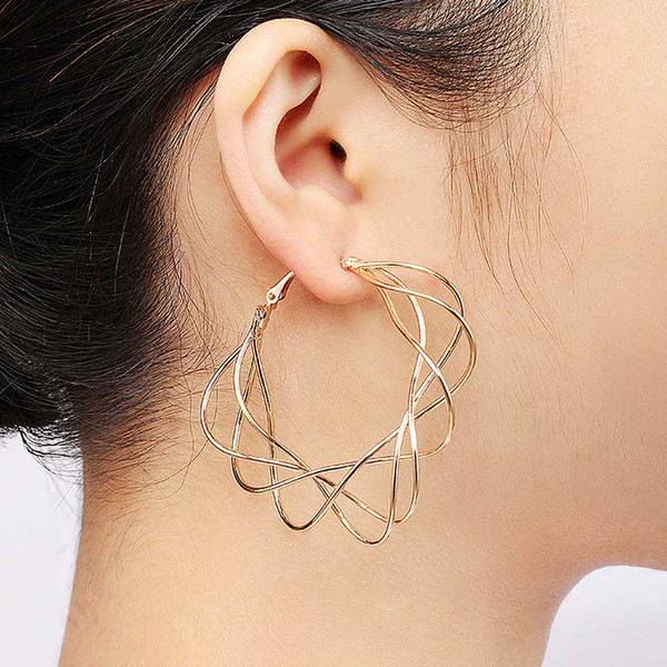 2019 Hot Fashion Jewlery Mental Twined Hoop Earing Round Statement Women Vintage Gold 5.9*5.8cm 1Pair Pearl Earing
