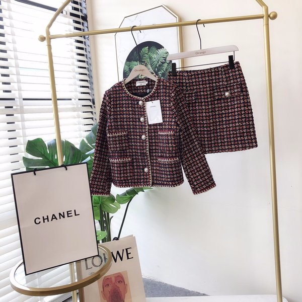872019 automne et d'hiver nouvelles dames tempérament petit parfum tweed deux pièces costume mode étrangère jupe tendance féminine