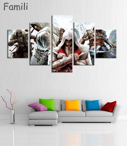5Panel HD Tela stampata su tela Assassins Creed Video Game Poster Ragazzi Room Decor Canvas Print Poster Picture Wallpaper