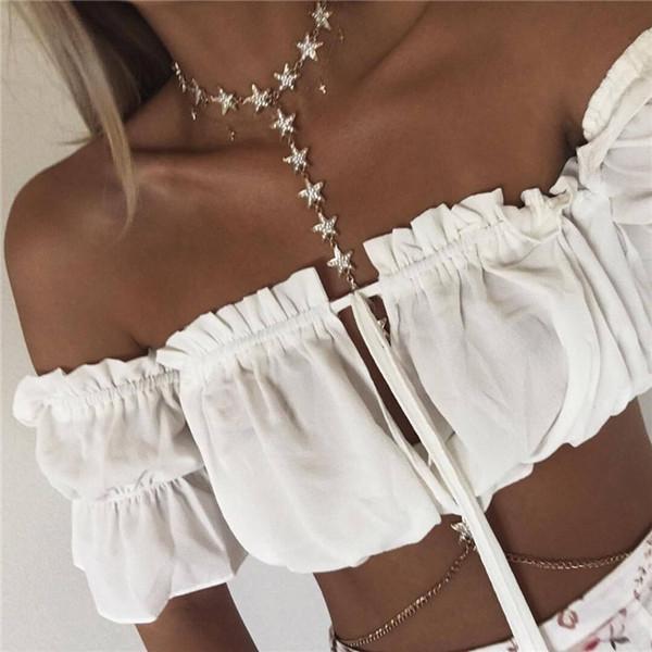 blingbling Flash Diamond Pentagram Body Chain Personality Women's Bikini Accessories Five-pointed star Sparkling Neck to waist FREE EUB