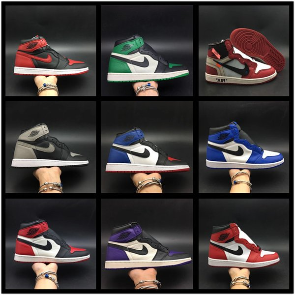 top popular Cair 1 JORDAN 1 High OG Bred Toe Chicago Scotts X Banned Game Royal man women Basketball Shoes AJ kids 1s Top youth boys girls Multicolor 2020