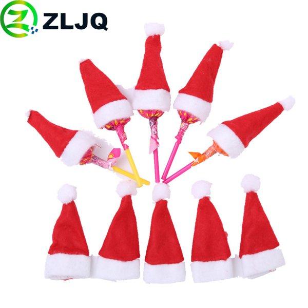 ZLJQ 10 / 30pcs Mini Non-woen Cap De Noël Sucette Chapeau Enfant Cadeaux Décorations De Fête Pour La Décoration Intérieure Fournitures 7J
