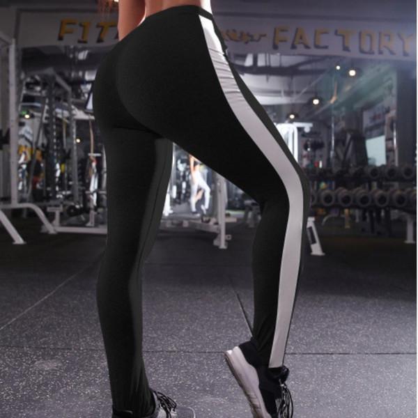 Pantalons de fitness pour femmes à rayures latérales de haute qualité