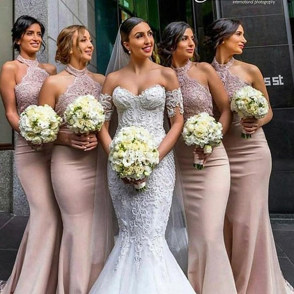 Country Style Dusty Pink Bridesmaid Dresses Mermaid Halter Top Lace Long  Elegant Evening Formal Gowns Plus Size Maid Of Honor Dress Cheap Ebony Rose  ...