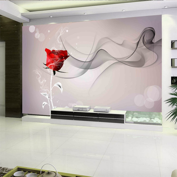 Personnalisé grand 3d TV canapé chambre Fond Fond d'écran fumée rose modèle conception mode simple soie humidité preuve fond d'écran amélioration de l'habitat