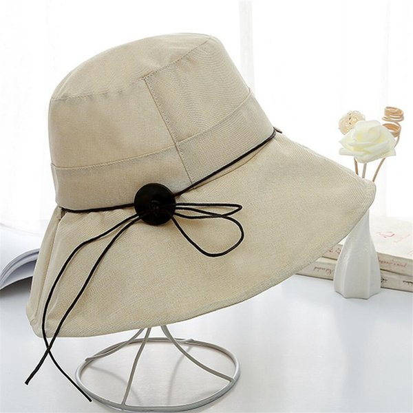 Japanese Stytle Lady Buckle Tether Monochrome Cotton Linen Hat Female Summer Folding Anti-UV Large Edge Sunhat