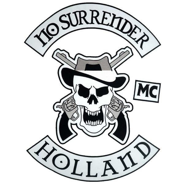 HOLLAND SKULL большой панк с вышивкой утюг на байкерской заплатке, значок для джинсовой куртки 4 шт. / Комплект