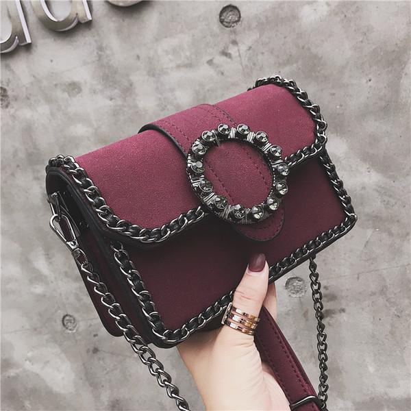 Retro Fashion Lady Small Square bag 2019 New Quality PU Leather Women's Designer Handbag Diamond Chain Shoulder Messenger bags