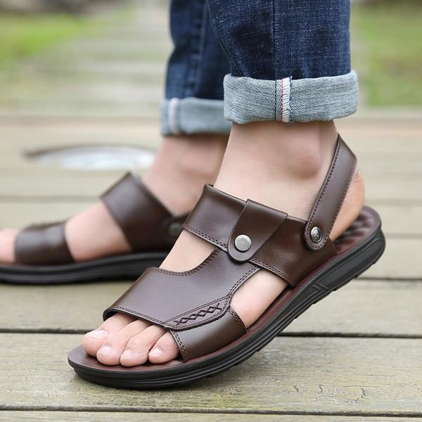 zapatos de playa de verano tendencia de los hombres sandalias antideslizantes casuales sandalias de los hombres de cuero 100% zapato para hombre gladiador verano