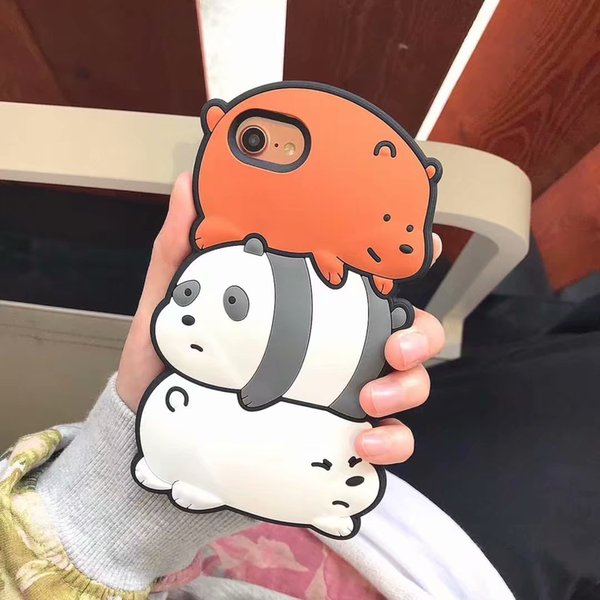 Fashion Cute 3D Cartoon Bear Animals Case For iPhone 6 7 8 Soft Silicone Rubber Funny Shockproof Protective Case Cover For iPhone XS Max XR