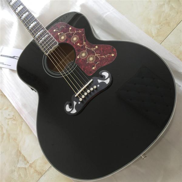 Livraison gratuite G- J200 Super Jumbo standard Guitare acoustique-électrique de couleur noire avec des guitares guitarra