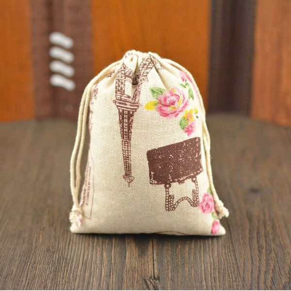 Natural Linen Charms Bags Rose & Paris Tower Drawstring Favor Bag Wedding Party Gift Pouch 10x14cm ZC0135