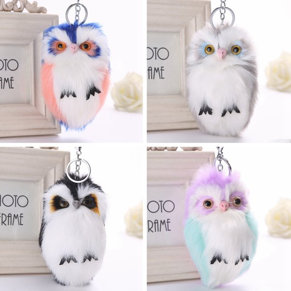 Cute Bird Owl Keychain Girl Soft Pompom Ball Plush Toy Key Ring Bag Hangs Key Holder Xmas Party Gift TTA2140-2