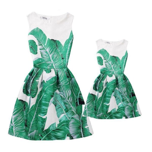 Summer Mother Daughter Dresses Clothes Mom And Daughter Dress Family Matching Outfits Look Clothing Print Mae E Filha Vestido Y19051103