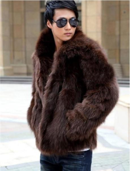 Мода искусственного меха мужская пальто верхняя одежда с длинным рукавом зима Лисий мех пальто топы теплый мужской верхней одежды размер одежды S-3XL