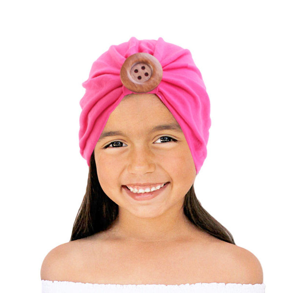 Solid Cotton wood Turban Headband For Girls cotton Stretchy Beanie Hat Headwear Baby Hair Accessories