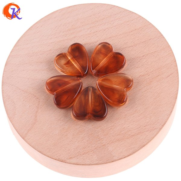 wholesale 20*20mm 100pcs Acrylic Beads/Jewelry Accessories/Hand Made/Imitation AmberEffect/Heart Bead/Earring Findings