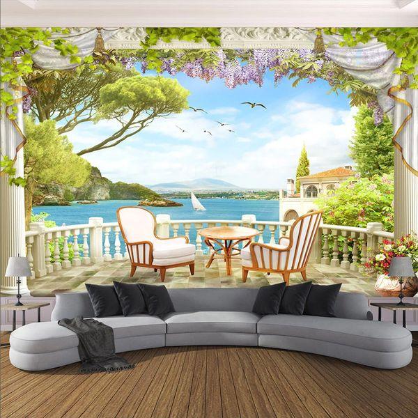 Murale personalizzato Carta da parati 3D Balcone Paesaggio marino Pittura murale Soggiorno TV Divano Sala da pranzo Sfondo Sfondi Decorazioni murali