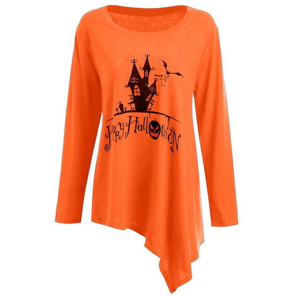 Femmes 5XL Plus La Taille Halloween chemise Imprimé Mini Robe Dames O-Cou À Manches Longues Irrégulier Terreur Nuit Ciel Robe Courte Robes