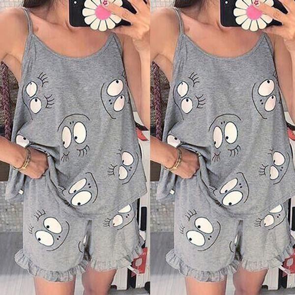 szlafrok damski Shine Plus Size Femmes Print Tee et Shorts Pyjama Ensembles Tshirt À Manches Courtes Avec Volants Ourlet Short Ensemble De Vêtements De Nuit