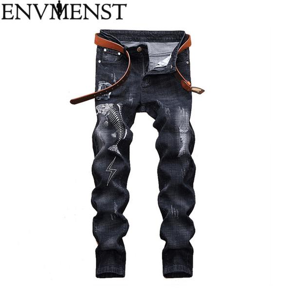 Envmenst 2019 Men Zipper Ripped Jeans Pants Slim Straight Frayed Denim Trousers New Fashion Skinny Men Jeans Full Pants