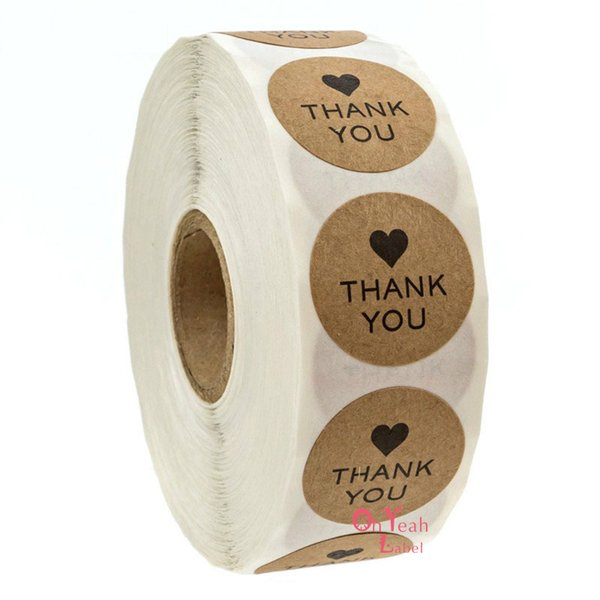 500pcs Thank you Sticker Kraft Paper Adhesive Label Sticker Seal Label Sticker for DIY Gift decoration