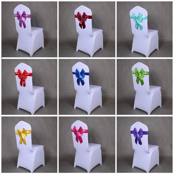 Toptan 50 adet / grup Kırmızı / Mavi 16 renk PU Tavşan Bow Tie Sandalye Kapak Kanat Bantları Düğün Doğum Günü Ziyafet Dekorasyon