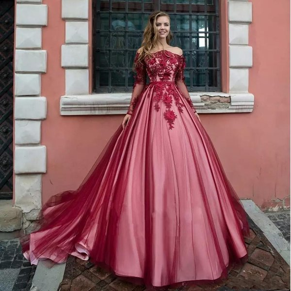 2019 Luxury Long Sleeves Prom Dresses Off Shoulder Lace 3D Flowers Sweet 16  Open Back Plus Size Puffy Prom Evening Gowns Wear Long Red Prom Dresses ...