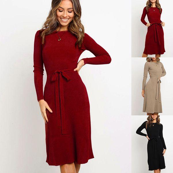 Herbst-Winter-Explosions-Qualitäts-Frauen-Kleid-Art- dünne Bügel Langarm-Kleid S-XL Größe