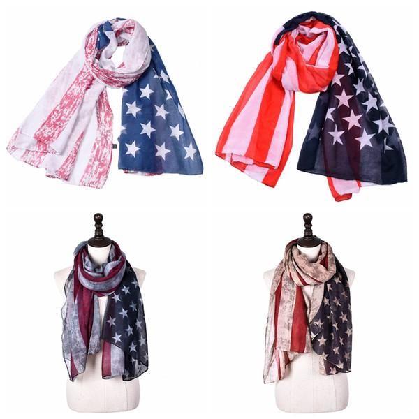 180cm * 90cm Gestreifter amerikanischer Flaggenschal unisex Baumwollleinensterne Patriotischer US-Schal Pashmina-Stern-Druck-Schal-Unabhängigkeitstag wickeln AAA2116 ein