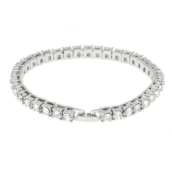 2019 European and American fashion new hip hop rhinestone bracelet ladies single row inlaid drill bracelet