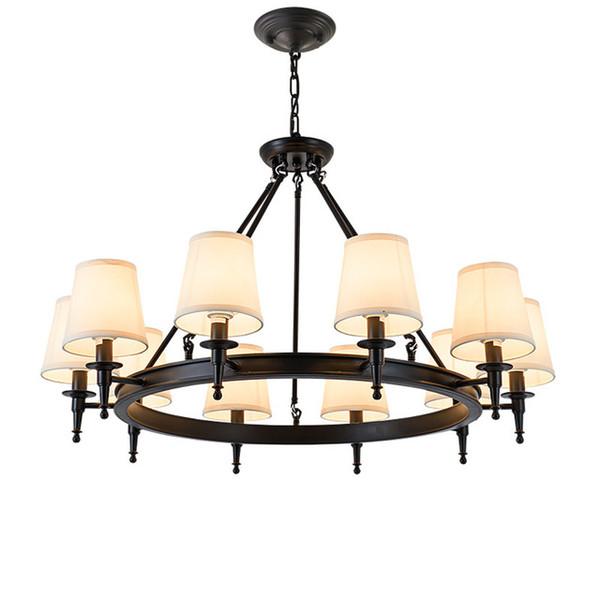 Moderne Kronleuchter Wohnzimmer Schlafzimmer Foyer Leuchten Stoff Lampenschirm Lampe Decor Home Beleuchtung Schwarz Glanz E14 American Pendelleuchte